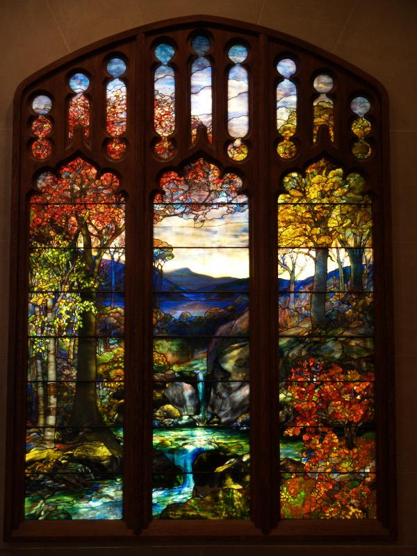 New York City, NY: Metropolitan Museum of Art: Autumn Landscape (c1923, Tiffany Studios, New York City)